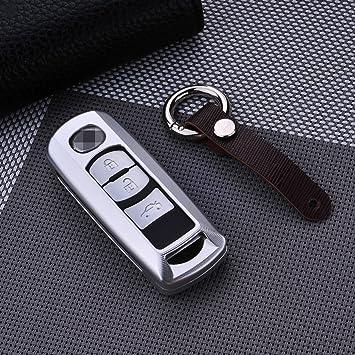 Carcasa de piel para llave de coche que se adapta a Mazda 8 CX-4 CX-5 CX-7 CX-9 Atenza Axela (fabricada en aluminio), de la marca M. Jvisun, plata