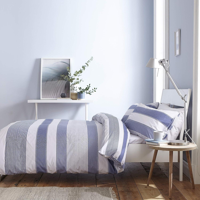 Catherine Lansfield New Quay Housse de Couette Coton 3 taie doreiller Bleu 260 x 240 2 65 x 65