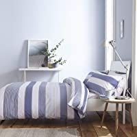 Catherine Lansfield New Quay Stripe Nórdica + Funda de Almohada, Cotton, Azul,…
