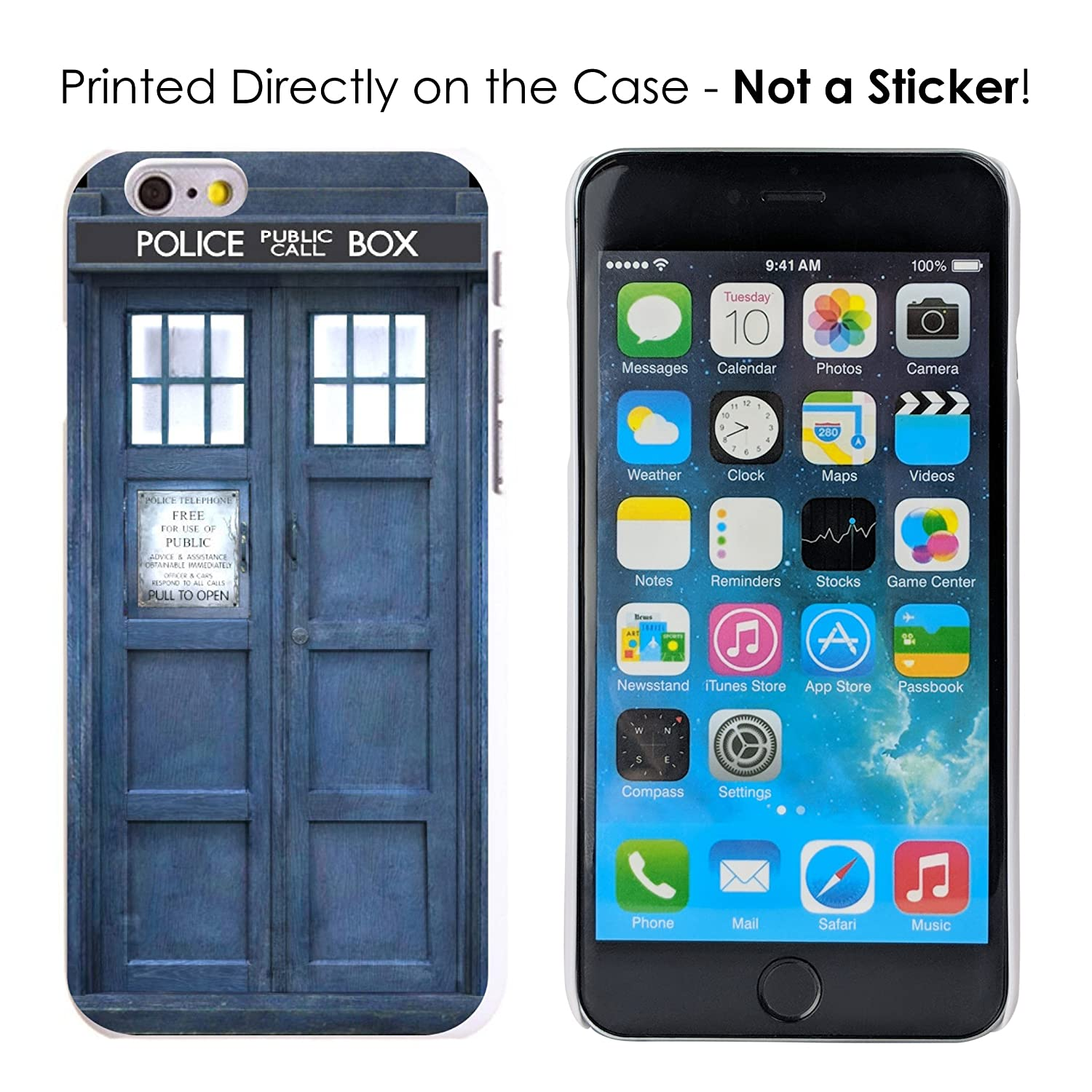 6361751842d Amazon.com  DistinctInk Case for iPhone 6 Plus   6S Plus - Custom Ultra Slim  Thin Hard White Plastic Cover - Tardis Call Box Photograph  Cell Phones    ...