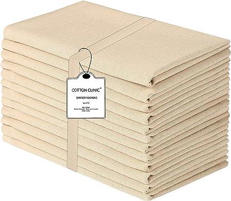 Clinica de algodon 12 Servilletas de Tela 50 x 50 cm, Servilletas de 100% Algodón, Suave y Cómoda, Calidad de Hotel Duradera, para Eventos y Uso Doméstico Regular Beige: Amazon.es: Hogar