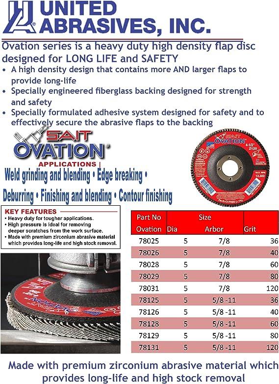 100-Pack United Abrasives- SAIT 53060 Fiber Disc Bulk Disc 2A 5 x 7//8 60 Grit