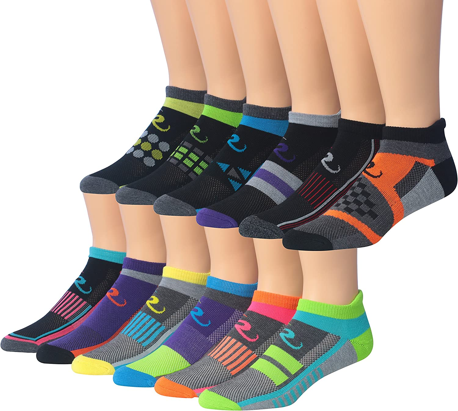 Ronnox Men's 12-Pairs Low Cut Running & Athletic Performance Tab Socks