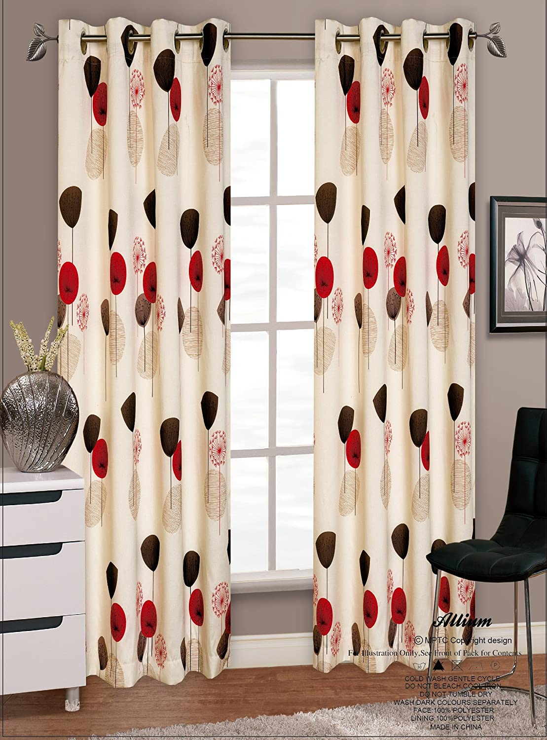 Red and cream window curtains - 66 X 90 Allium Dandelion Red Modern Eyelet Ringtop Faux Silk Curtains Pair Fully Lined Amazon Co Uk Kitchen Home