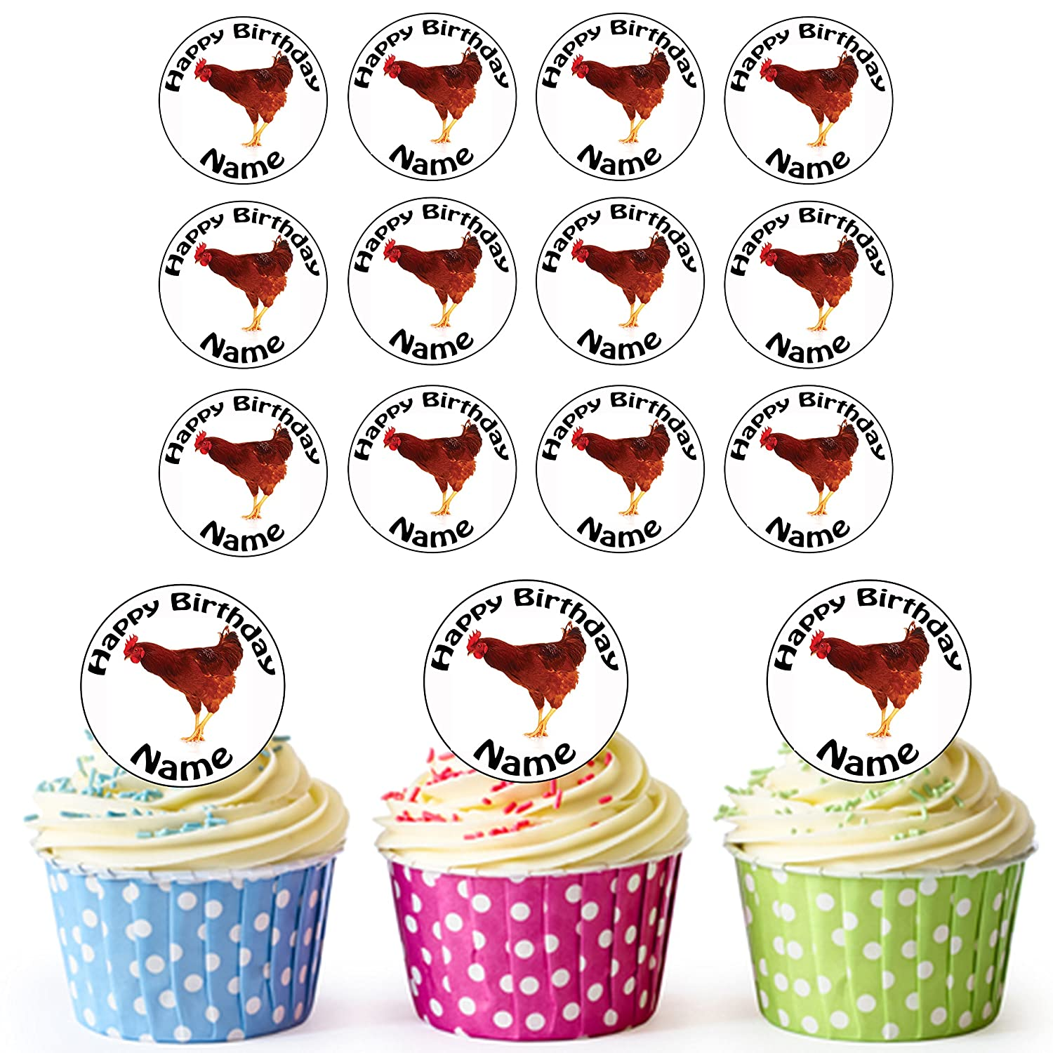 Farm Chicken 24 Personalised Edible Cupcake Toppers/Birthday Cake Decorations - Easy Precut Circles AK Giftshop Ltd