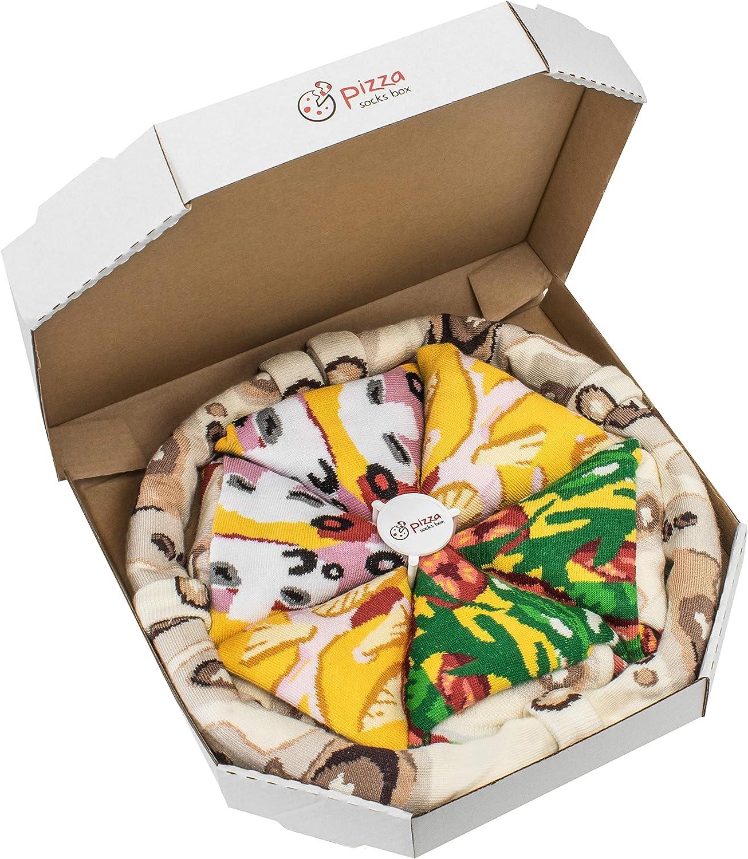 Rainbow Socks - Pizza MIX Italiana Hawaiana Caprichosa Mujer Hombre - 4 pares de Calcetines