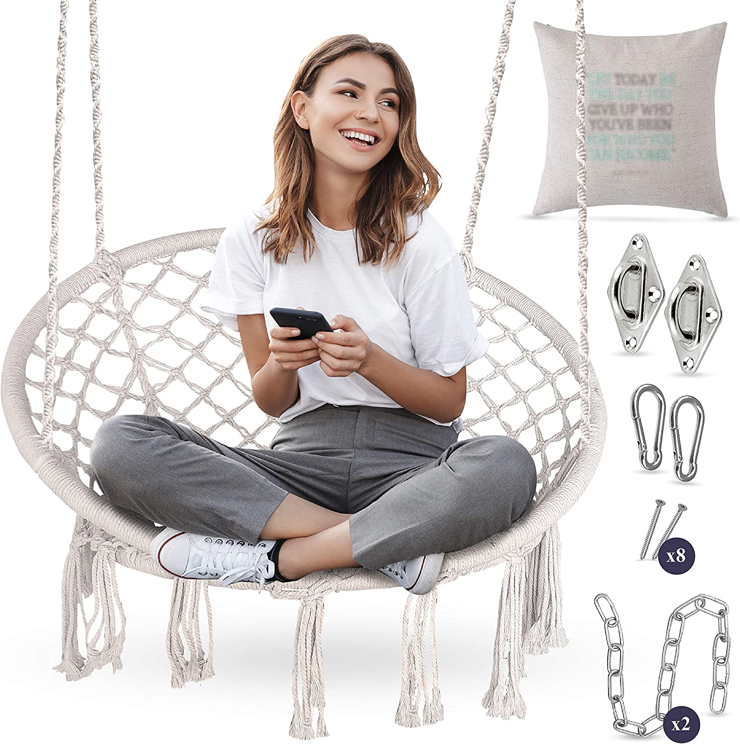 Macrame Chair Swing | Hammock w/ Full Hanging Kit - Hanging Chair Handmade 100% Cotton for Comfort and Relaxation Indoor, Outdoor, Home, Deck, Patio, Yard, Garden - 265 Pound Capacity - Beige + Bonus