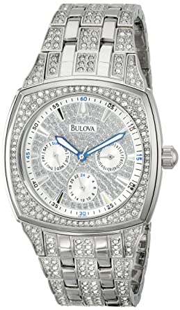 amazon com bulova men s 96c002 swarovski crystal stainless steel bulova men s 96c002 swarovski crystal stainless steel watch