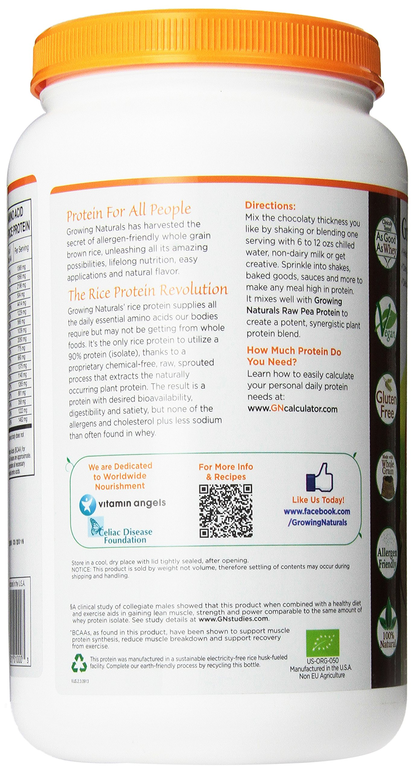 Growing Naturals Organic Rice Protein Powder, Chocolate, 952 Gram by Growing Naturals (Image #4)