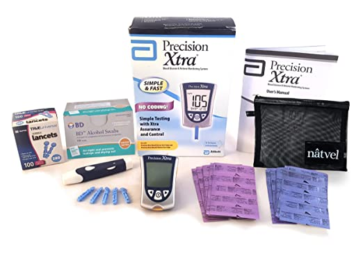 Precision Xtra Blood Glucose and Ketone Monitoring System Bundle Kit - Abbott Precision Xtra Meter + 30 Ketone Strips + 30 Glucose Strips + 100 Lancets + 100 Wipes + Complete Diabetes Testing Kit