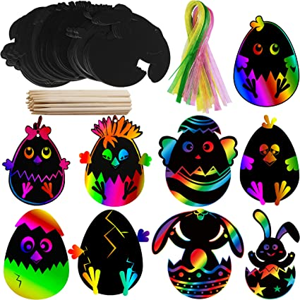 Supla 48 Set Scratch Easter Day Ornaments Egg Bunny Chick Cutouts with Holes Art Rainbow Magic Scratch Paper Ornaments Hang Tags Favor Tags Gift Tags Treats Tags with Ribbons Scratching Tools