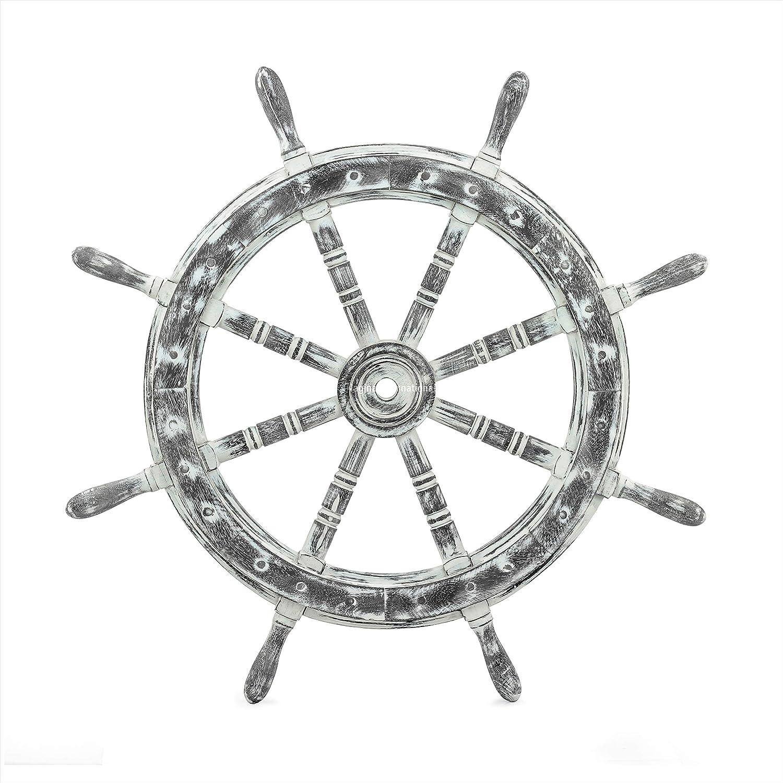 Nautical Rustic Wall Decorative Ship Wheel - Pirate Home Decor - Nagina International (30 Inches)