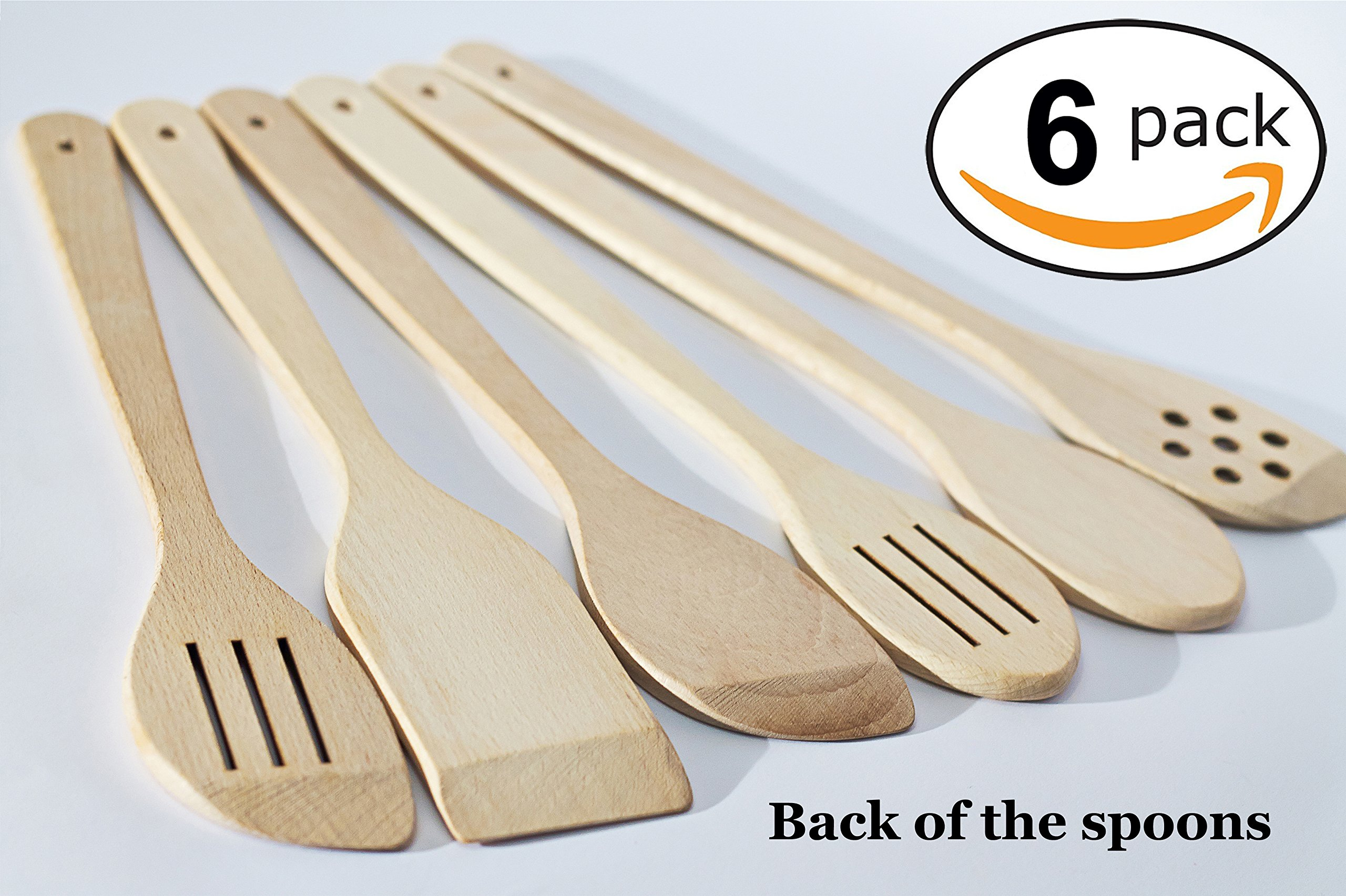 Healthy Cooking Utensils Set - 6 Wooden Spoons For Cooking – Natural Nonstick Hard Wood Spatula and Spoons – Uncoated and Unglued – Durable Eco-friendly and Safe Kitchen Cooking Tools. by ECOSALL (Image #2)