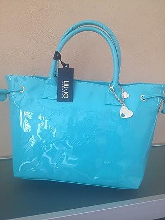cce570d862 borsa liu jo modello decoro trapezio pvc colore PASTEL TURQUOISE coll. 2012  13: Amazon.it: Sport e tempo libero