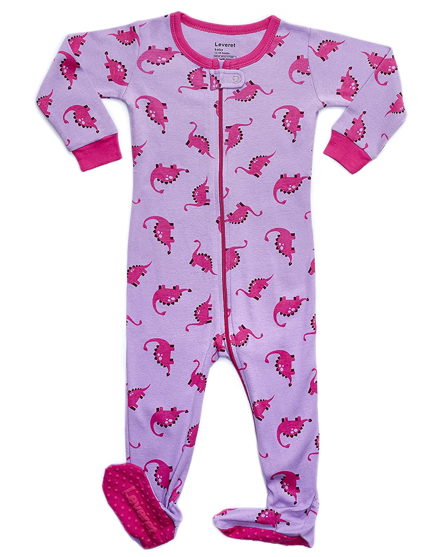 Leveret Baby Girls Footed Pajamas Sleeper 100% Cotton Kids & Toddler Pjs (3 Months-5 Toddler)