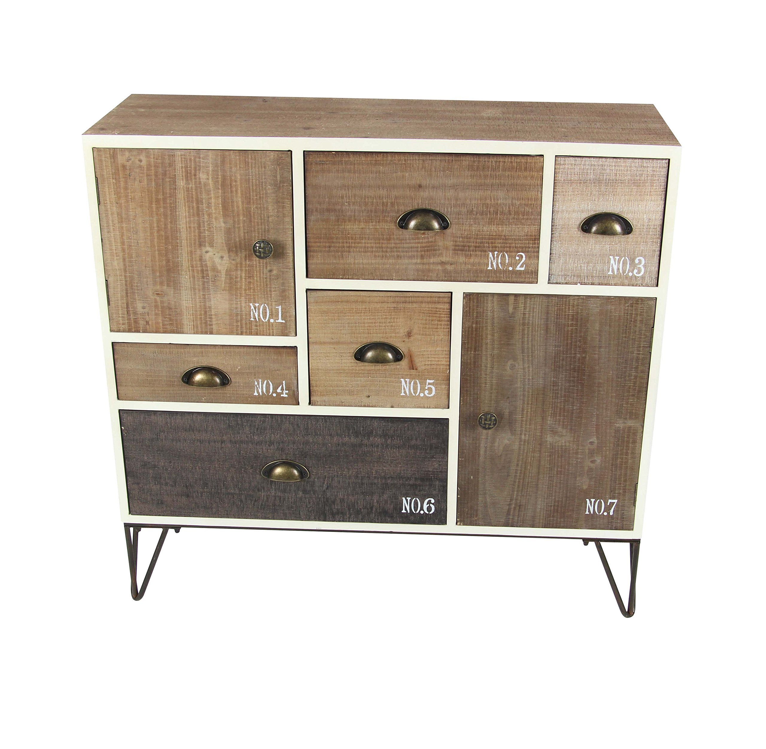 Deco 79 94622 Wood and Metal Chest 35'' W, 33'' H, White/Black/Brown