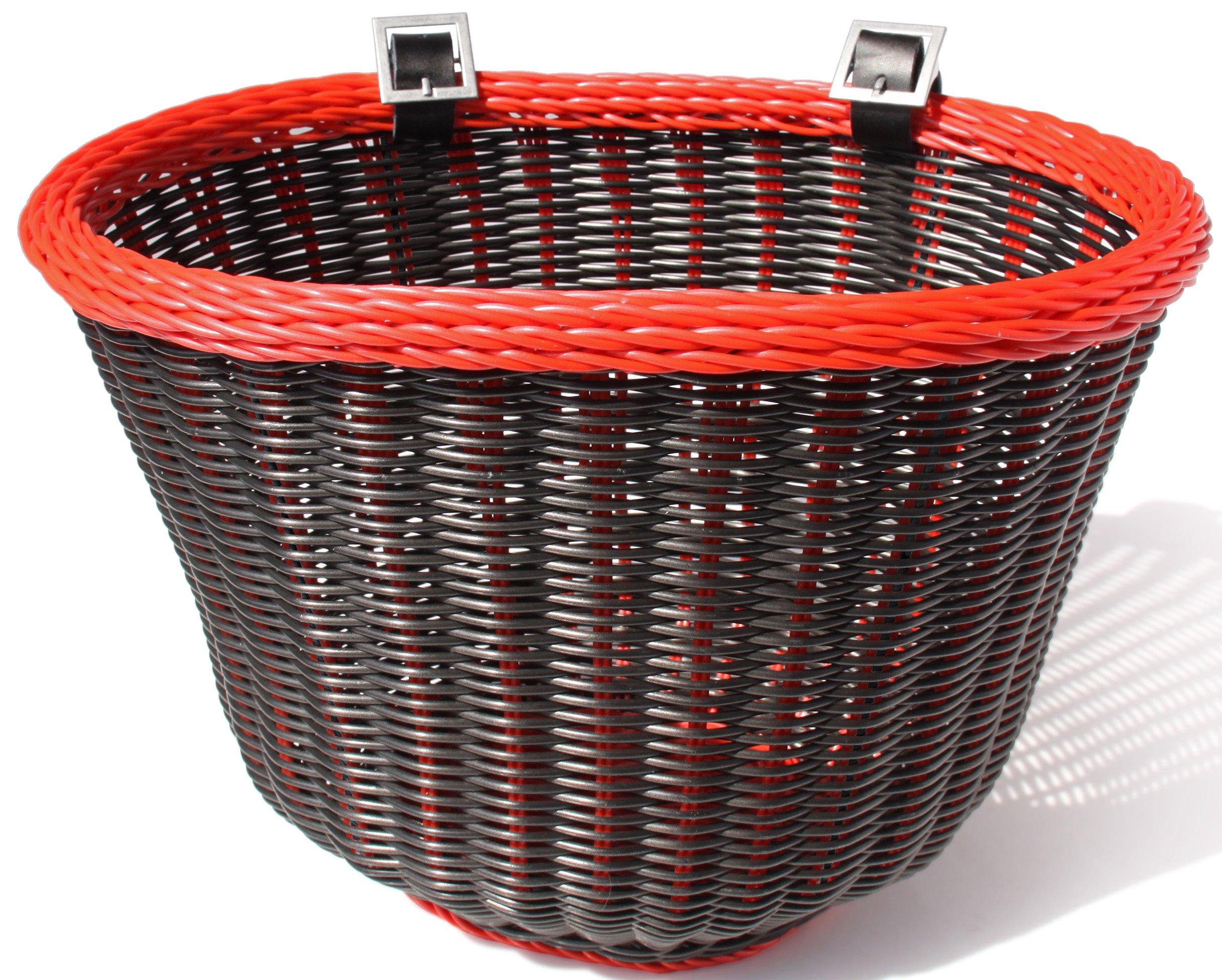 Colorbasket 01358 Front Handle Bar Adult Bike Basket, Water Resistant, Leather Straps, Black with Red Trim