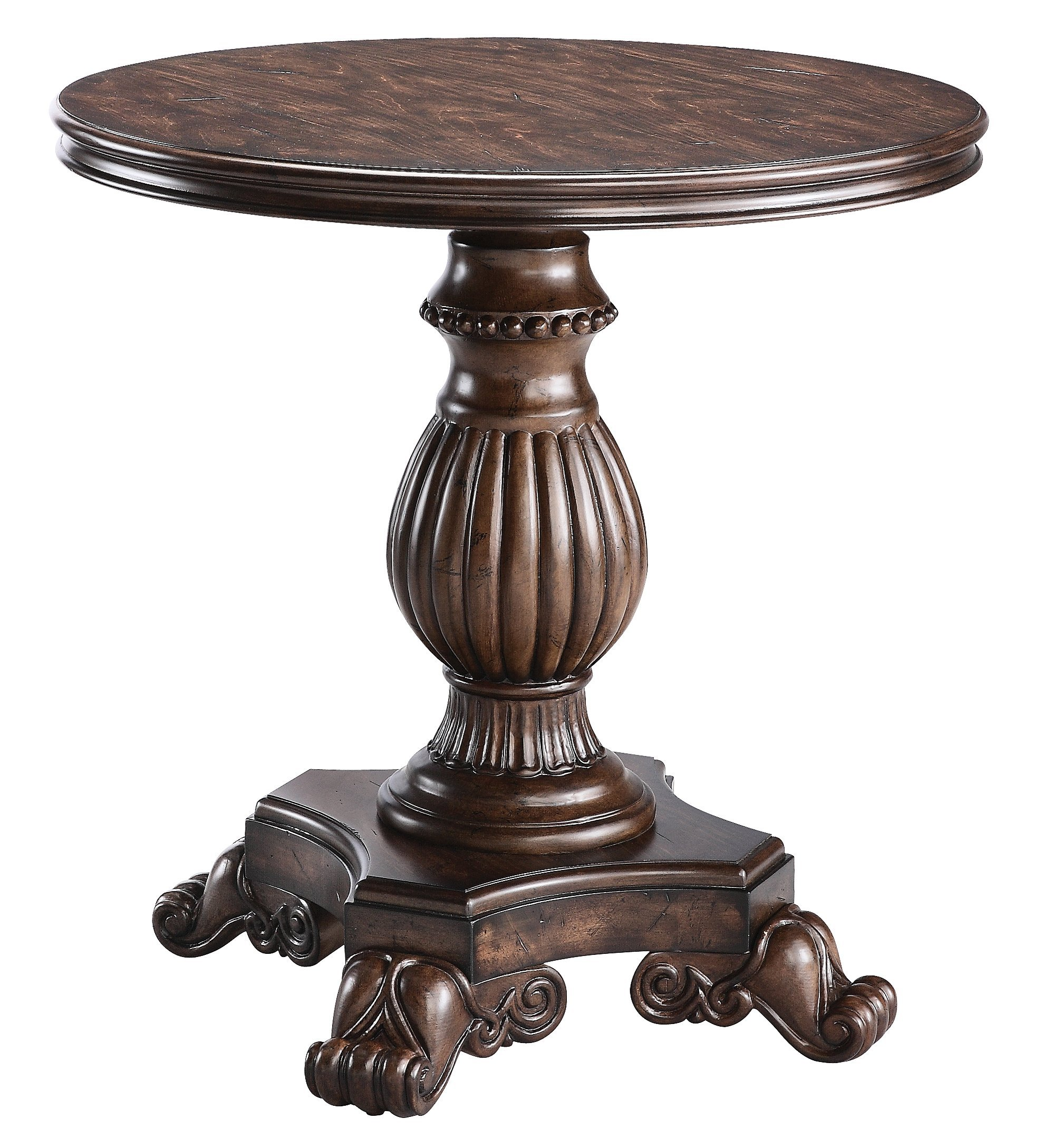 Stein World Furniture Ellsworth Pedestal Table, Rich Dark Distressed by Stein World Furniture