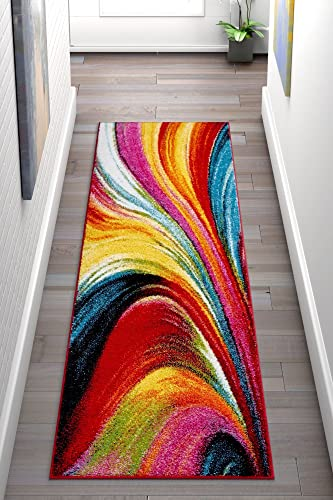 Well Woven Aurora Multi Color Geometric Brush Stroke Area Rug 2×7 2 3 x 7 3 Runner Modern Abstract Contemporary Painting Art Swirl Stripe Lines Thick Soft Plush Living Dining Room Nursery