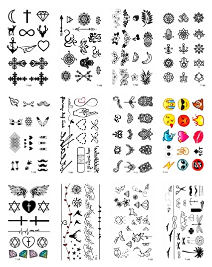 Amazon Com 12 Sheets Mini Small Heart Cross Temporary Tattoo Summer