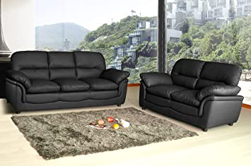 Peachy Lovesofas New Modern Verona 3 2 Seater Bonded Leather Living Room Sofa Suite Black Pabps2019 Chair Design Images Pabps2019Com