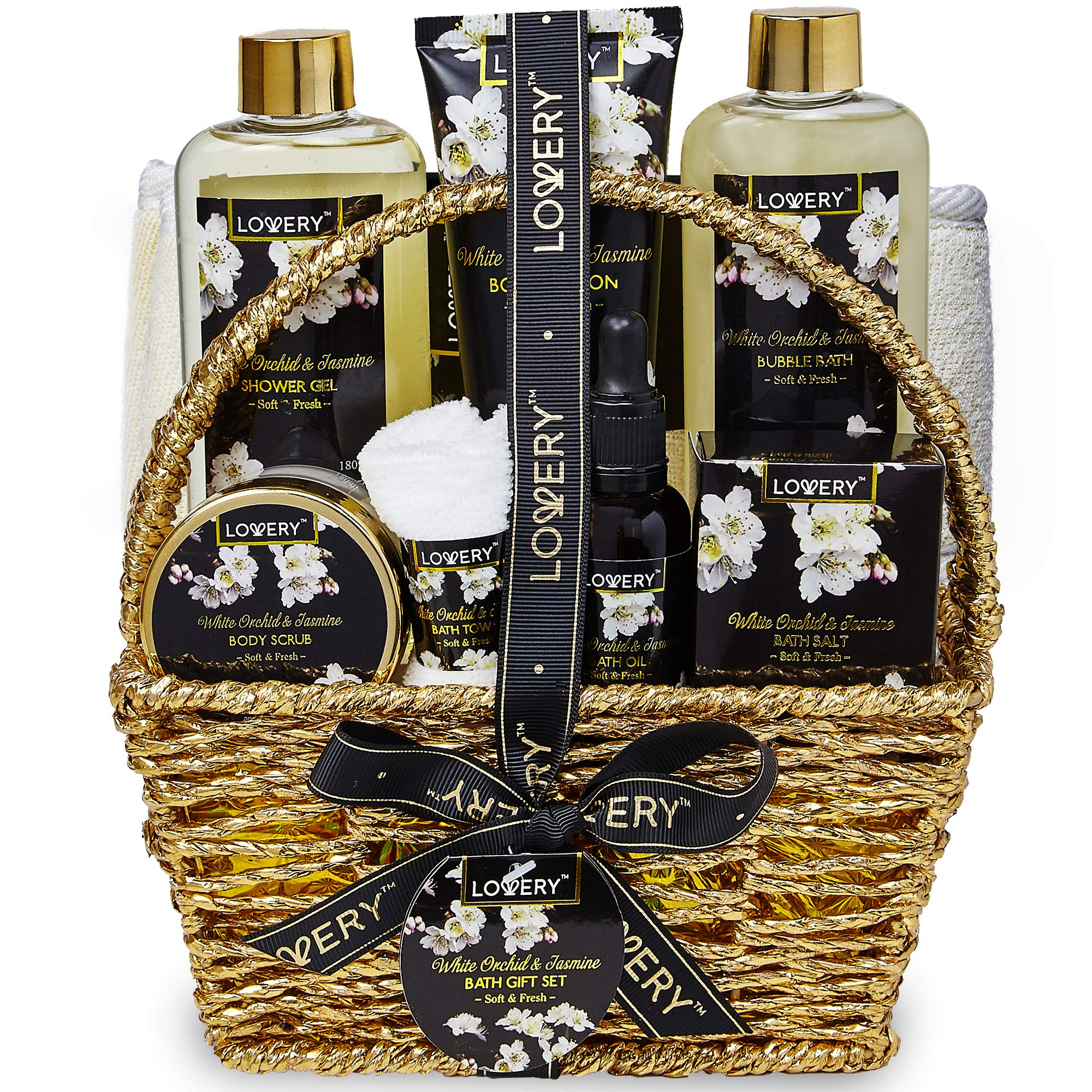 Bath and Body Gift Basket for Women and Men - Orchid and Jasmine Home Spa Set With Body Scrubs, Lotions, Oils, Gels and More - 9 Piece Set by LOVERY