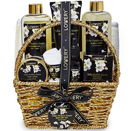 Bath and Body Gift Basket for Women and Men Orchid and Jasmine Home Spa Set With Body Scrubs, Lotions, Oils, Gels and More – 9 Piece Set