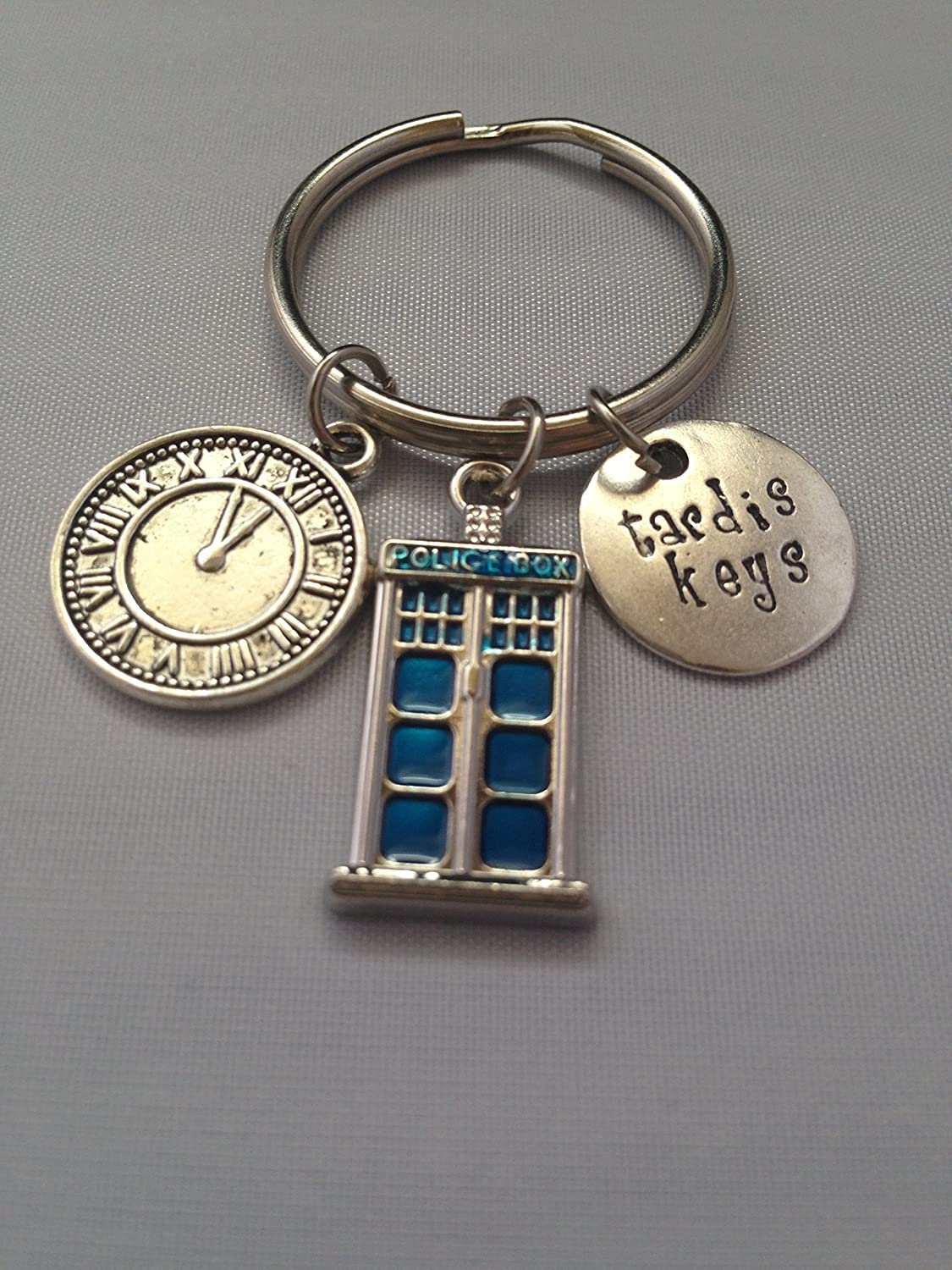 Tardis Keys, Dr. Who Inspired Handstamped Key Chain Police Box Keyring Key chain, The Doctor