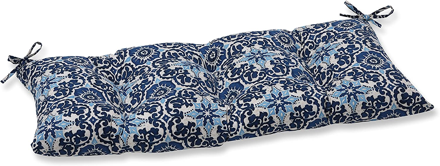Pillow Perfect Outdoor/Indoor Woodblock Prism Swing/Bench Cushion, Blue