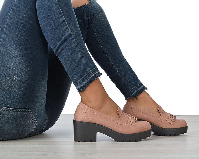 Altamoda Zapato Mocasines con plataforma de mujer en antelina color nude SS18 (36): Amazon.es: Zapatos y complementos