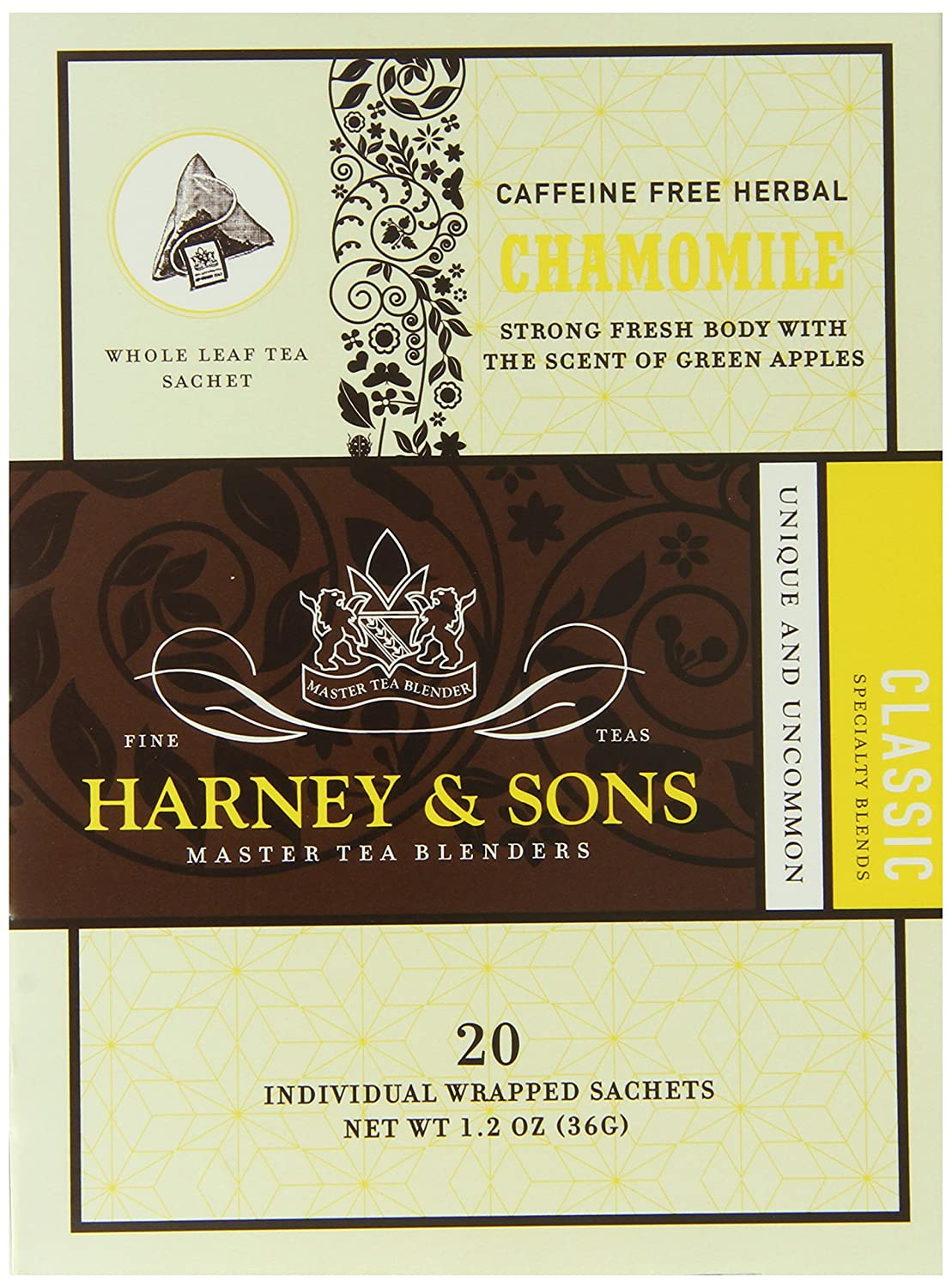 Harney & Sons Herbal Tea, Chamomile, 20 Sachets (Pack of 6)