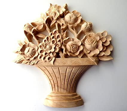 10 x 10 x 1 hand carved solid wood flower basket applique onlay
