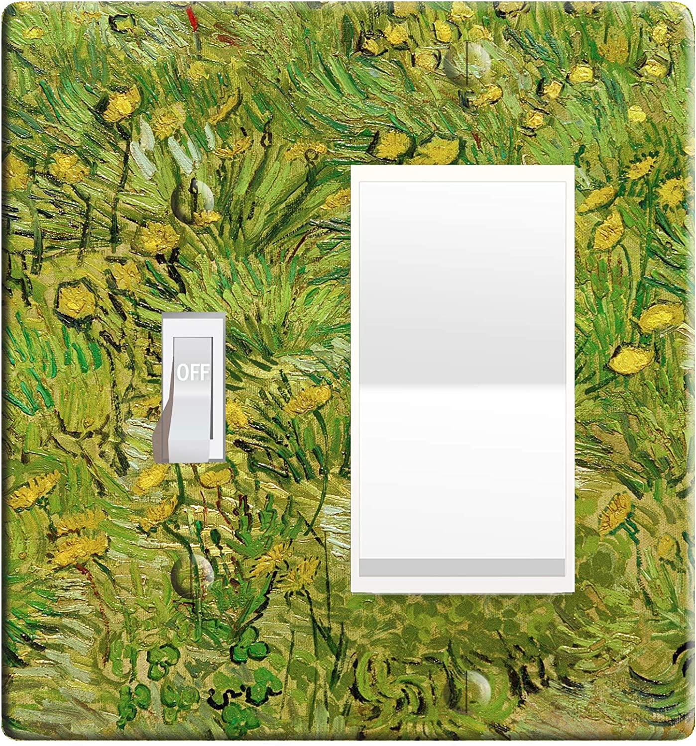 Embossi Printed Maxi Metal Vincent Van Gogh A Field With Dandelions Switch Plate Light Switch Outlet Cover L0155 2 Gang Toggle Rocker