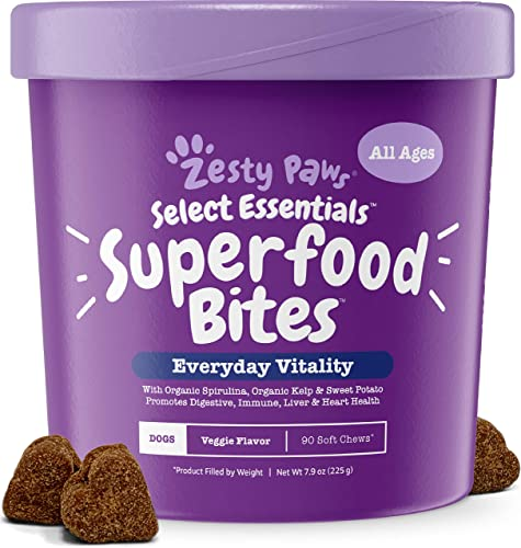 Superfood Chewable Treats for Dogs – Grain Free Fruit Veggies Dog Supplement – Spirulina, Pumpkin, Coconut Oil and Kelp – Vitamins, Antioxidants Omega 3 6 9 – Digestive Immune Support