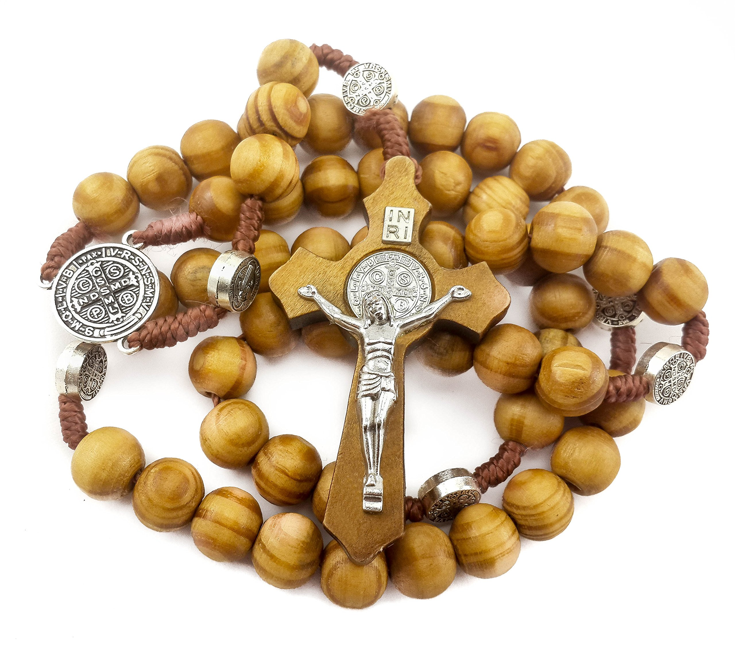 Saint Benedict Evil Protection Medal with Cross Wood Beads Rosary Necklace Nazareth Store by Nazareth Store