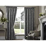 "One pair of Palmero Scroll Pencil Pleat (3"" header) Thermal Curtains in Silver, Size: 90x108"" (229 x 274 cm) width x drop"