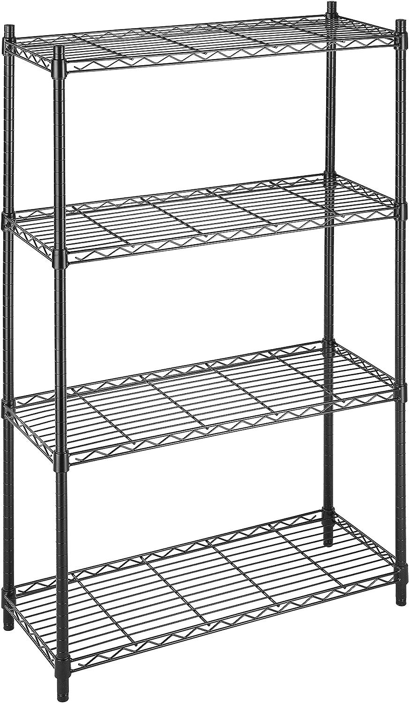 B000LRFG60 Whitmor Supreme 4 Tier Shelving with Adjustable Shelves and Leveling Feet - Black 91O0yuMplmL
