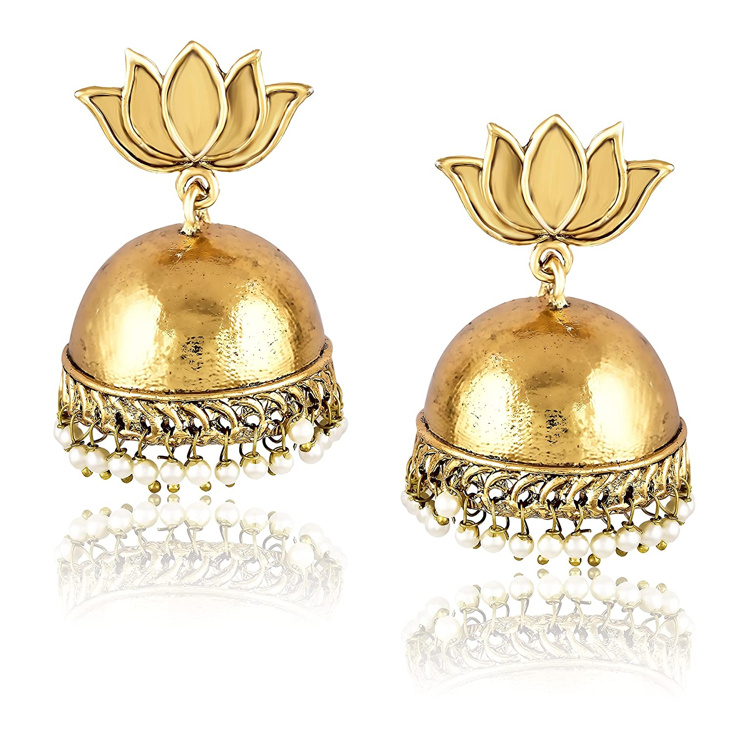 Buy Meenaz Fashion Jewellery Gold Plated Pearl Crystal Jhumki