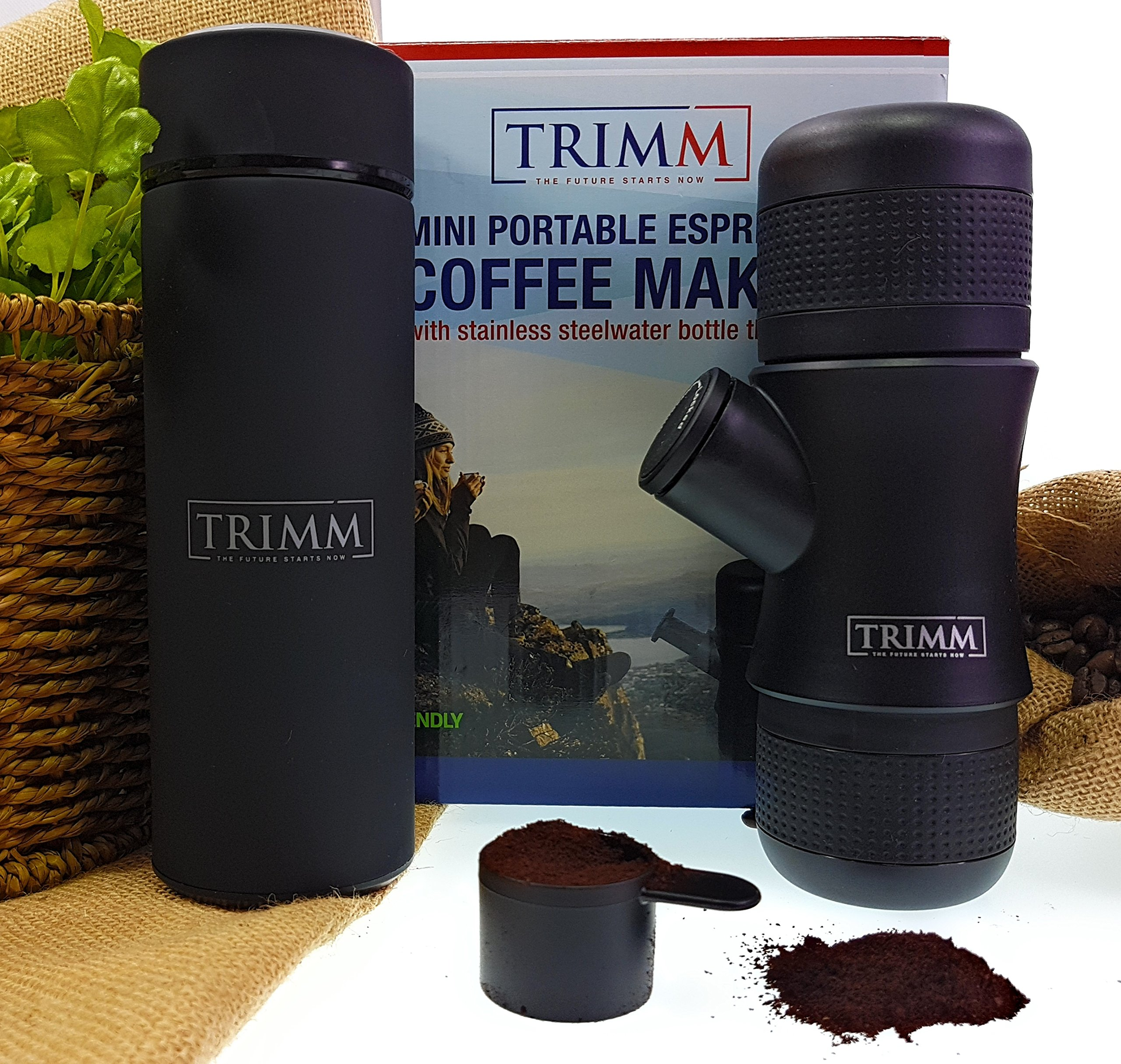 Trimm Portable Hand Held Espresso Machine and Thermos Vacuum Insulated Double Wall | Portable Espresso Maker and Flask | Single Cup Coffee Maker and Tea Thermos Bottle | Travel Set Great Gift Idea by TRIMM THE FUTURE STARTS NOW (Image #4)