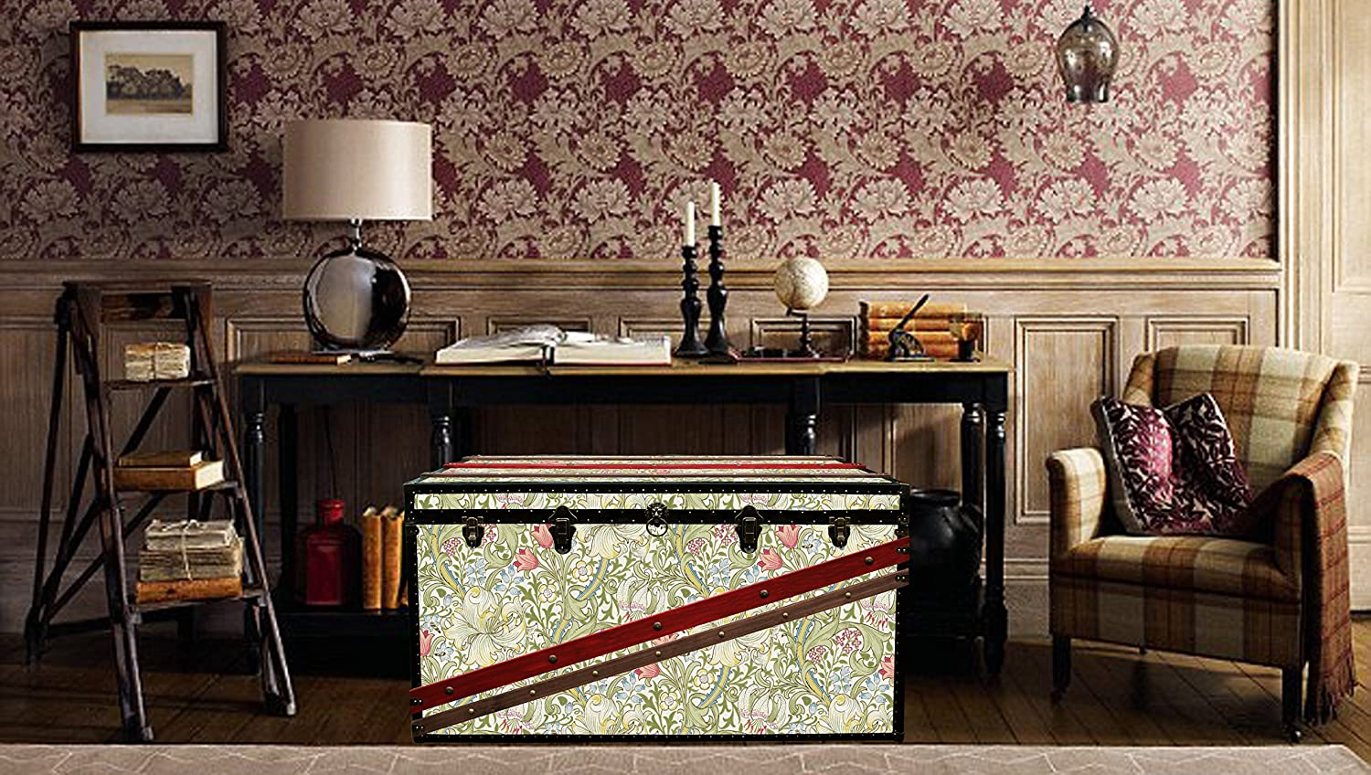 Luxury morris wallpaper coffee table steamer trunk exclusive furniture toy hope chest storage bench exclusive home decor morris glgr amazon co uk