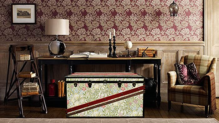 Stateroom Travel Steamer Trunk Coffee Table Antiqued Ivory Storage Furniture New