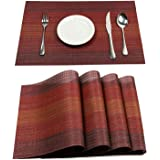 PAUWER Placemats Set of 4 Heat Insulation Stain Resistant Placemat for Dining Table Durable Crossweave Woven Vinyl Kitchen Table Mats Placemat (Red)