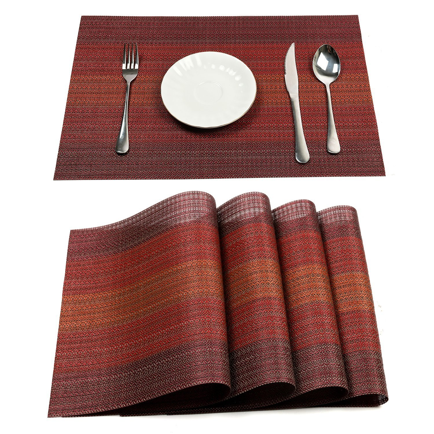 PAUWER Placemats Set of 6 Heat Insulation Stain Resistant Placemat for Dining Table Durable Crossweave Woven Vinyl Kitchen Table Mats Placemat (Red) by Pauwer (Image #1)