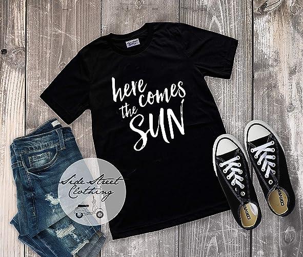56c84f9d4c83 Amazon.com  Here Comes the Sun T Shirt - Women