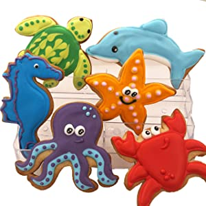 Sea Creature Assortment- Decorated Shortbread Cookies Individually Wrapped With Bow by BakersDozenToGo (12)