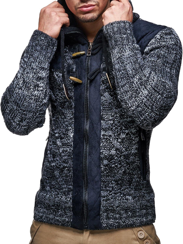 Moderner schwarzer Herren Hoodie-Sweatjacke-Winterjacke Langarm Grobstrick LEIF NELSON Herren Strick-Jacke mit Kapuze Slim Fit Grobstrick LN20525