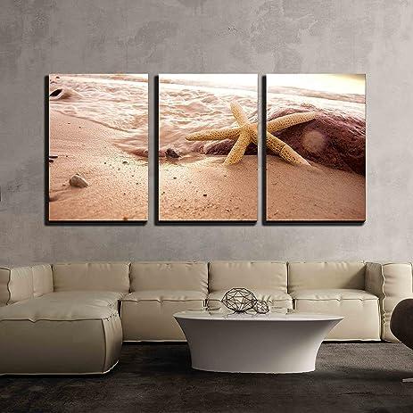 amazon com wall26 3 piece canvas wall art starfish in sea water