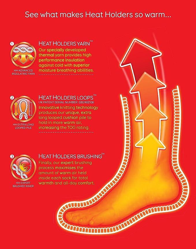 Heat Holders 1 paia calze termici con antiscivolo casa invernali uomo adulti in 7 colori 39-45 euro,