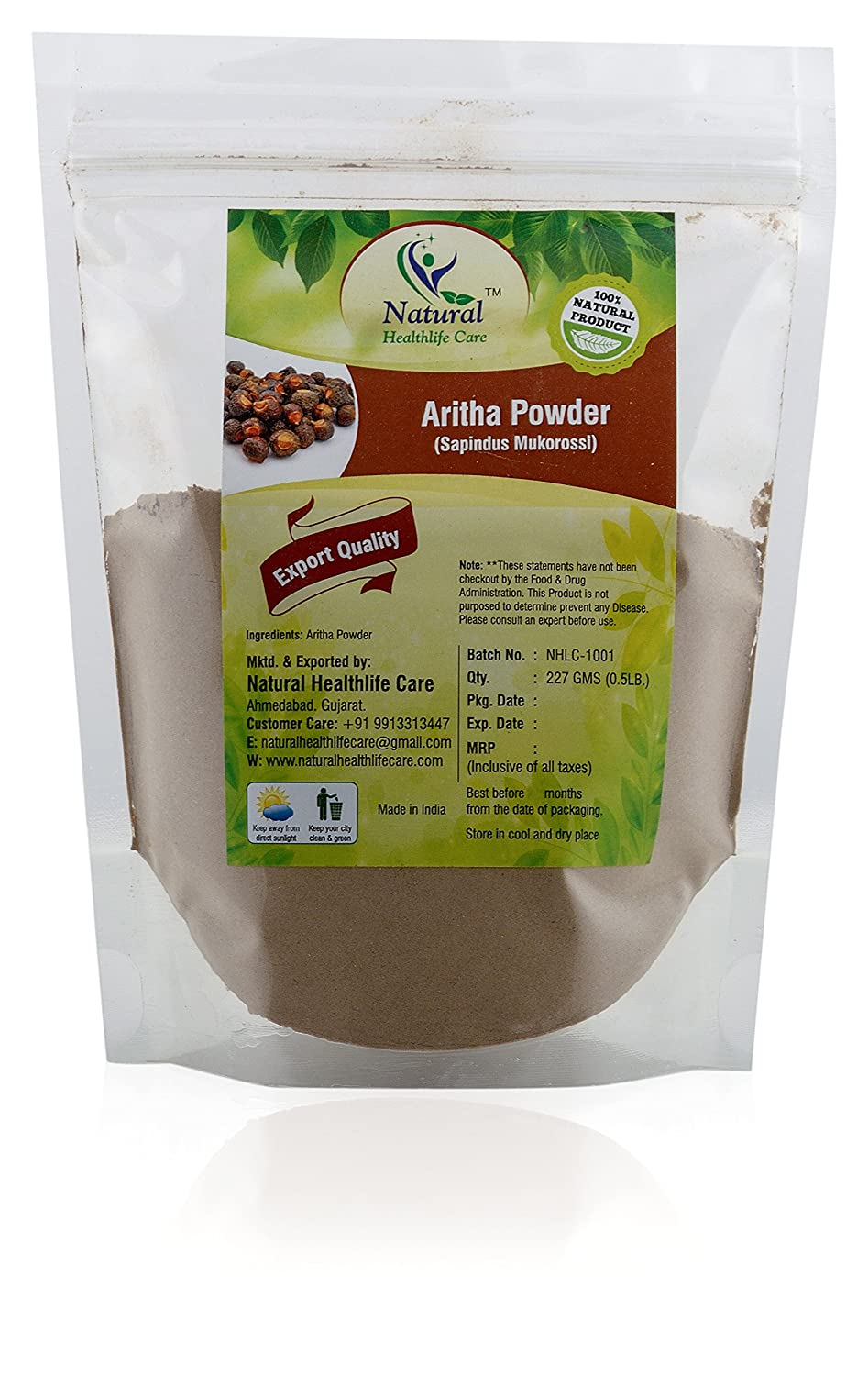 100% Pure Natural Aritha Powder/Soap nut Powder(SAPINDUS MUKOROSSI) FOR SILKY HAIRS (227g / (1/2 lb) / 8 ounces) Natural Healthlife Care