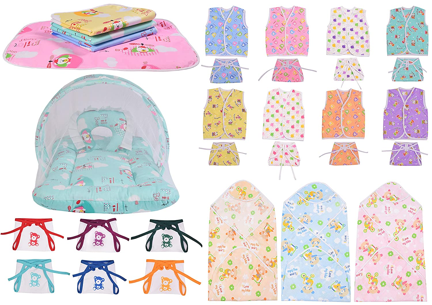 Baby Fly 6 Baby Hosiery Langot/Nappies with 1 Net Bed, 3 Baby Blankets, 4 Nappy Changing Sheets, 8 Cotton Jhabla Set and 8 Cotton Nappies for New Born Baby(0-6 Months)